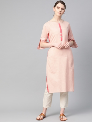 Pink plain cotton ethnic-kurtis