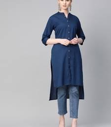 Navy-blue plain cotton ethnic-kurtis