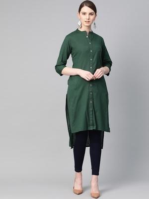 Green plain cotton ethnic-kurtis