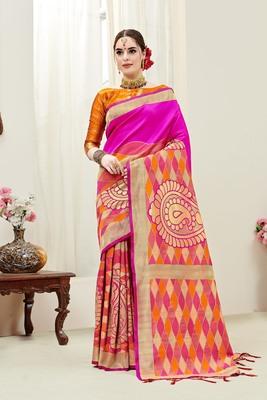 Pink printed kanchipuram silk saree with blouse