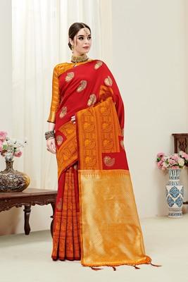 Red printed kanchipuram silk saree with blouse