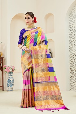 Multicolor printed kanchipuram silk saree with blouse