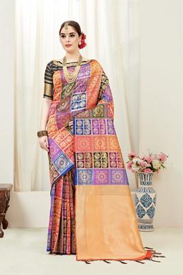 Multicolor printed kanchipuram silk saree with blouse