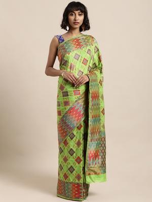 Light green printed art silk sarees saree with blouse