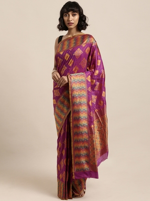 Lavender printed art silk sarees saree with blouse