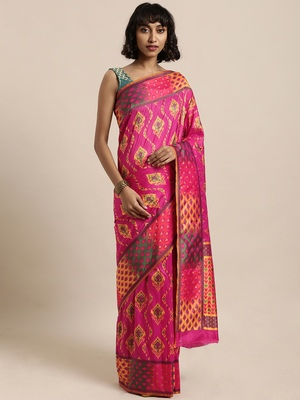 Pink printed art silk sarees saree with blouse