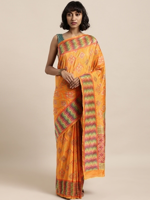 Orange printed art silk sarees saree with blouse