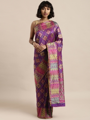 Purple printed art silk sarees saree with blouse
