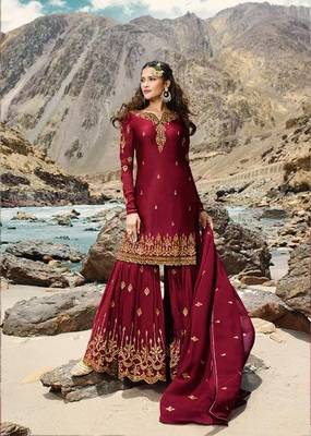 Red embroidered faux georgette salwar
