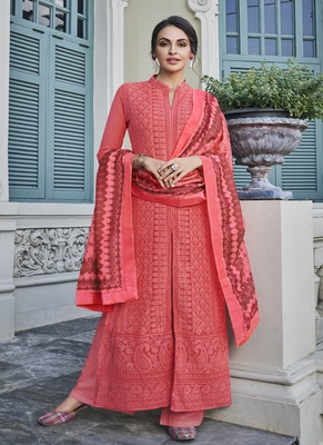 Coral embroidered georgette salwar