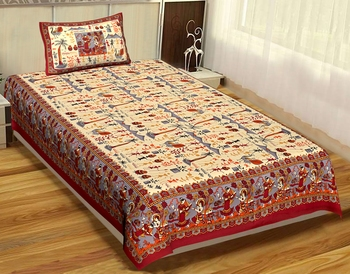 Rudra Bazaar Jaipur Prints  Single Bedsheets With 1 Pillow Cover