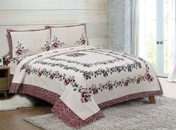 Rudra Bazaar Jaipur Prints  Double Bedsheets With 2 Pillow Cover