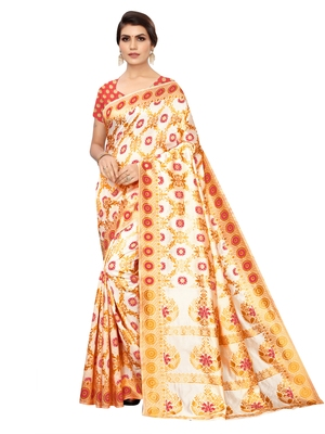 White woven poly silk saree with blouse