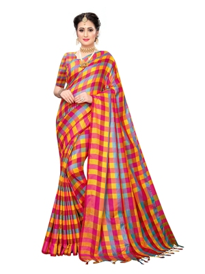Yellow woven poly silk saree with blouse