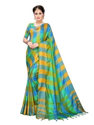 Sky blue woven poly silk saree with blouse