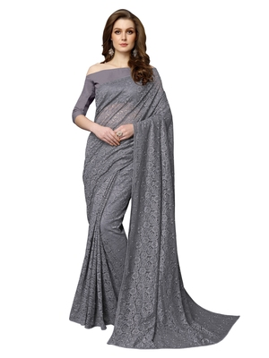 Grey brasso net saree with blouse