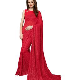 Red Brasso Net Saree With Blouse