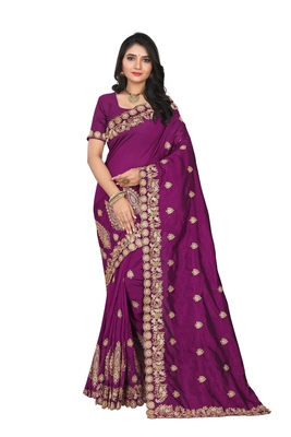 Wine embroidered art silk saree with blouse