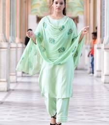 Green Stylish Women 3 Piece Rayon heavy Gotta patti work kurta Palazzo Set With heavy Designer Block Print Duppata