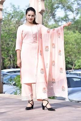 Pink Stylish Women 3 Piece Rayon heavy Gotta patti work kurta Palazzo Set With heavy Designer Block Print Duppata