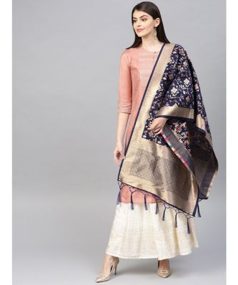 Women Navy blue Color Woven Banarasi Dupatta