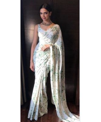 green Digital Printed georgette partywear Bollywood saree with blouse