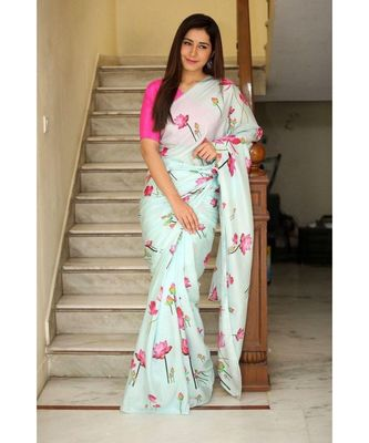skyblue Digital Printed georgette partywear Bollywood saree with blouse