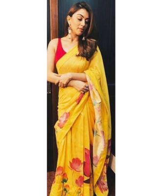 yellow Digital printed georgette partywear Bollywood saree with blouse