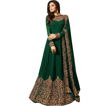 GREEN EMBROIDERED FAUX GEORGETTE SEMI STITCHED ANARKALI