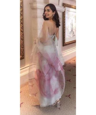 white Digital printed organza Silk partywear Bollywood  saree with blouse