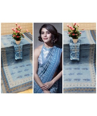 blue Digital printed Linen partywear Bollywood saree with blouse