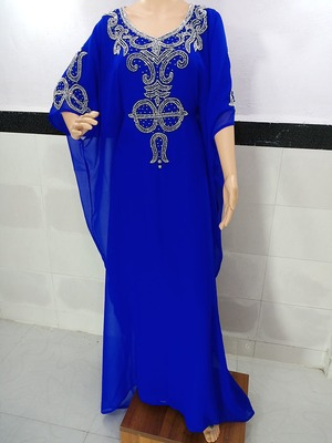 royal blue georgette moroccan islamic dubai kaftan farasha zari and stone work