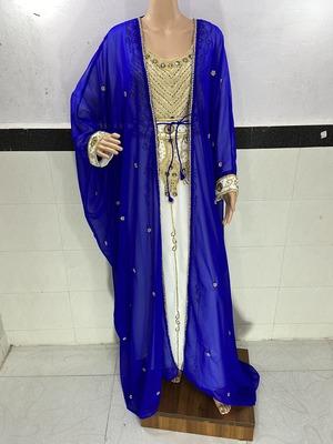 royal blue and white georgette moroccan islamic dubai kaftan farasha zari and stone work two piese dress