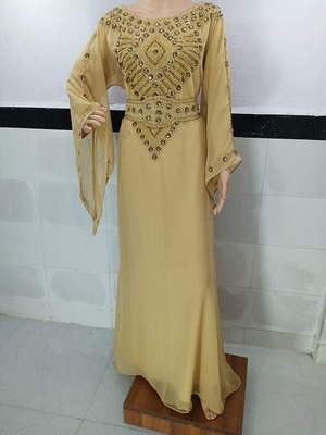 beige georgette moroccan islamic dubai kaftan farasha zari and stone work dress