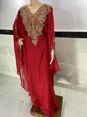 red georgette moroccan islamic dubai kaftan farasha zari and stone work dress