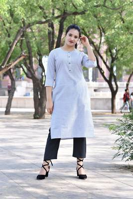 White Stylish Women White stright Kurti with beautiful Black Checks  pillazo