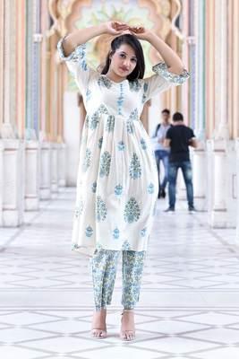off white Stylish women pure  Cotton  Floral Printed Kurta with Pallazo  Set