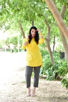Yellow Stylish Solid Women Crape Kurta