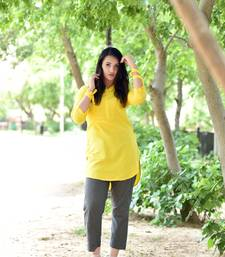 Yellow Stylish Solid Women Crape Kurta