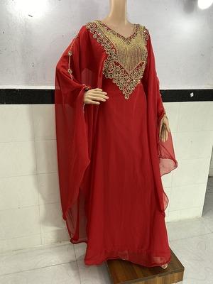 red georgette moroccan islamic dubai kaftan farasha zari and stone work dress