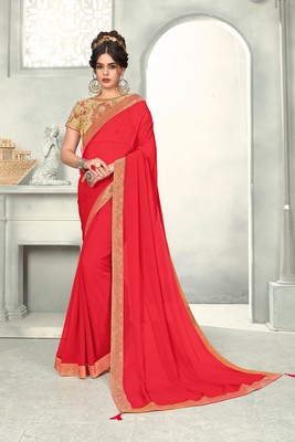 Red Poly Silk Jaqcard Border Designer saree with blouse