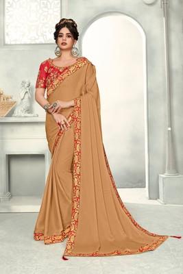 Brown Poly Silk Jaqcard Border Designer saree with blouse