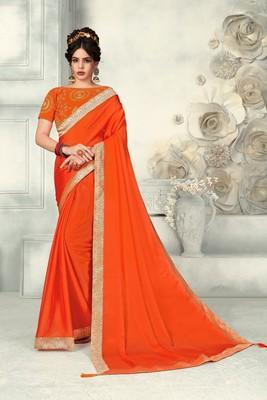Orange Poly Silk Jaqcard Border Designer saree with blouse