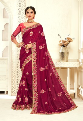 Burgundy Poly Silk Embroidered Designer saree with blouse