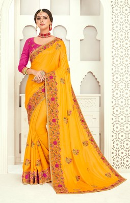 Yellow Poly Silk Embroidered Designer saree with blouse