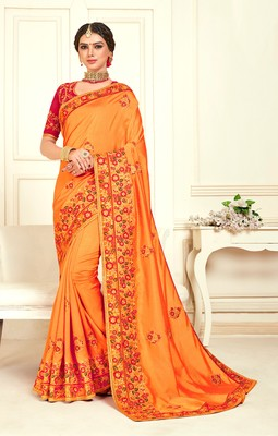 Orange Poly Silk Embroidered Designer saree with blouse