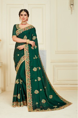 Green Poly Silk Embroidered Designer saree with blouse