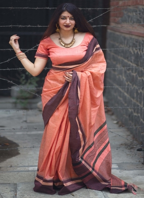 Coral woven cotton saree with blouse