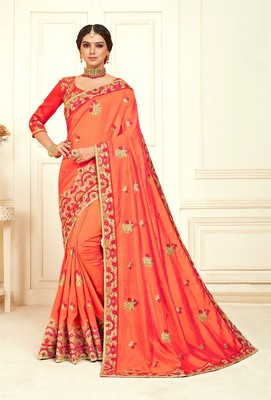 Peach Poly Silk Embroidered Designer saree with blouse
