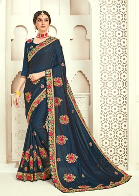 Navy Blue Poly Silk Embroidered Designer saree with blouse